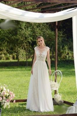Originální krajkové bílé tylové lehké a vzdušné svatební šaty s rukávem...