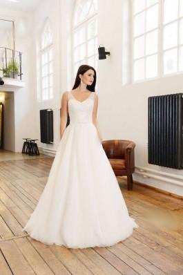 Originální krajkové bílé tylové lehké a vzdušné svatební šaty...